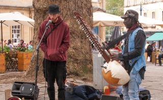 Finn and Amadou, wonderful buskers, Bath, '21.