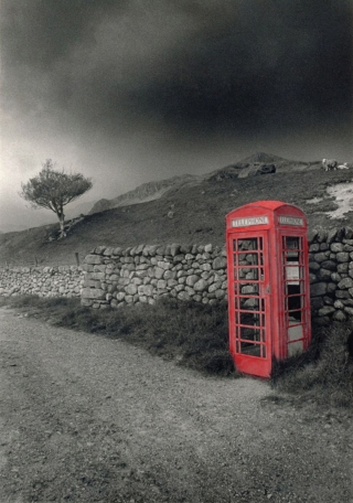 Red Phonebox, [B&W]Painted, Cumbria.