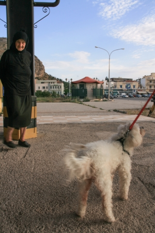 Nafplio, Old Lady and Dog, '10.