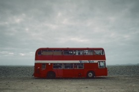 Red Bus on the Beach, Wales.